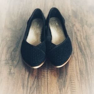 ❤️Toms Suede Pointy Toe Flats, Black, 7